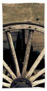 Wagon Wheel - Old West Trail N832 Sepia Beach Towel