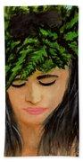 Wahine Woman In Hawaiian #244 Beach Towel