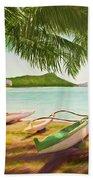 Waikiki Beach Outrigger Canoes 344 Beach Towel