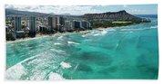 Waikiki To Diamond Head Beach Towel