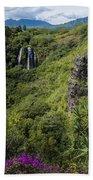 Wailua Falls And Tropical Plants Beach Towel