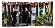 Waitresses At Outdoor French Terroir In Old Quebec City Beach Sheet