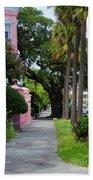 Walk Along Rainbow Row Beach Towel