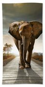 Walking Elephant Beach Towel by Carlos Caetano
