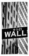 Wall St Sign New York In Black And White Beach Towel