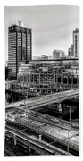 Walnut Street City View In Black And White Beach Towel