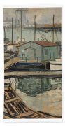 Walter  E  Schofield 1867-1944 Dock With Shed Beach Towel