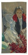 Walter Ufer 1876-1936 Stringing Chili Peppers Beach Towel