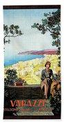 Warazze, Savona, Italy, Woman On Hotel Terrace Beach Sheet