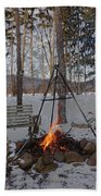 Warm Camp Fire Beach Towel