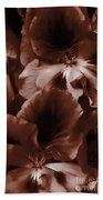 Warm Tone Monochrome Floral Art Beach Towel