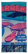 Warrens Lobster House Neon Sign Kittery Maine Beach Towel