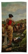 Washerwomen In Candas Asturias Amoros Botella, Antonio Beach Towel