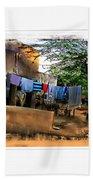 Washing Line And Cows Indian Village Rajasthani 1b Beach Towel