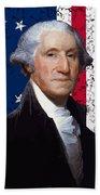 Washington And The American Flag Beach Sheet