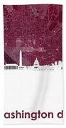 Washington Dc Skyline Map 3 Beach Towel