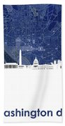 Washington Dc Skyline Map 4 Beach Towel