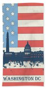Washington Dc Skyline Usa Flag 3 Beach Towel