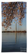 Washington Monument With Cherry Blossoms Beach Towel by Megan Cohen