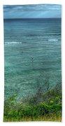 Watching From Afar Kuilei Cliffs Beach Park Surfing Hawaii Collection Art Beach Towel