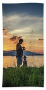 Watching Sunset With Daddy Beach Towel