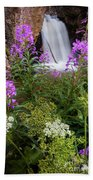 Water And Flowers Beach Towel