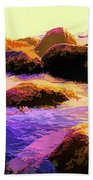 Water Color Like Rocks In Ocean At Sunset Beach Towel