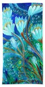 Water Flowers Beach Towel