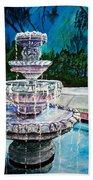 Water Fountain Acrylic Painting Art Print Beach Sheet
