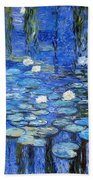 water lilies a la Monet Beach Towel