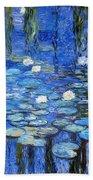 water lilies a la Monet Beach Towel
