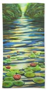 Water Lillies At Dusk Beach Towel