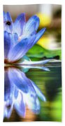 Water Lily And Bee Beach Towel