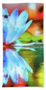 Water Lily And Bee Pastel Beach Towel