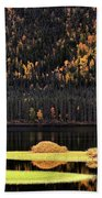 Water Reflections In Autumn Beach Towel