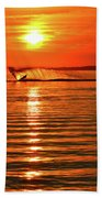 Water Skiing At Sunrise  Beach Towel