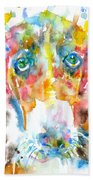 Watercolor Basset Hound Beach Towel