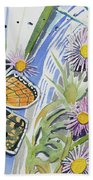 Watercolor - Checkerspot Butterfly With Wildflowers Beach Towel by Cascade Colors