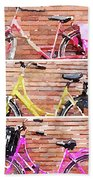 Watercolor Collage Of Three Bicycles In Triptych Beach Towel