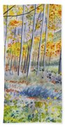 Watercolor - Colorado Autumn Forest And Landscape Beach Towel