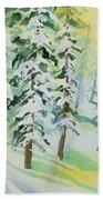 Watercolor - Colorado Winter Tranquility Beach Towel