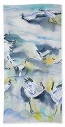 Watercolor - Crane Ballet Beach Sheet