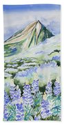 Watercolor - Crested Butte Lupine Landscape Beach Towel by Cascade Colors