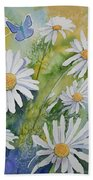 Watercolor - Daisies And Common Blue Butterflies Beach Towel