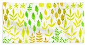 Watercolor Doodle Leaves Pattern White  Beach Towel