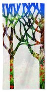 Watercolor Forest Silhouette Summer Beach Towel