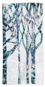 Watercolor Forest Silhouette Winter Beach Towel