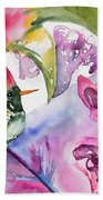 Watercolor - Frilled Coquette Hummingbird With Colorful Background Beach Towel