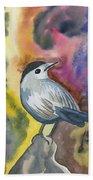 Watercolor - Gray Catbird Beach Towel