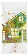 Watercolor Houses Beach Towel